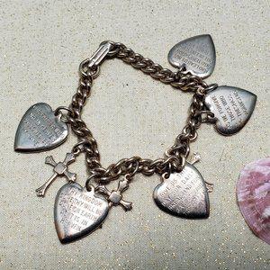 Vintage religious charm bracelet Lord's Prayer